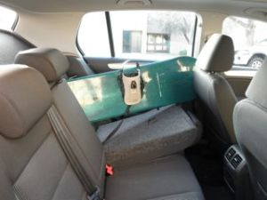 Snowboard with Seat Folded down.